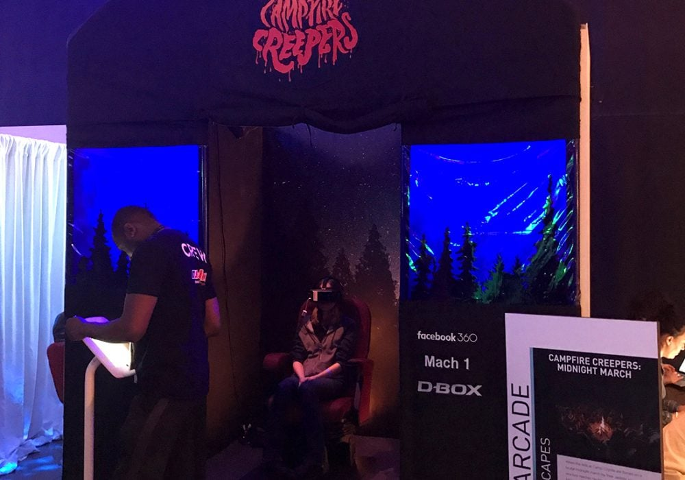 The entrance to Campfire Creepers gives me the creeps. Inside, the seats vibrate and jerk to make the experience somewhat more immersive.