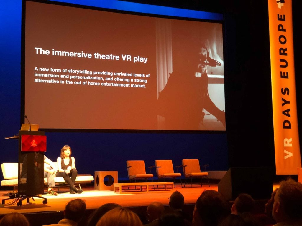 Marie Jourdren presents the concept of immersive theater VR play at the VR Days in Amsterdam.
