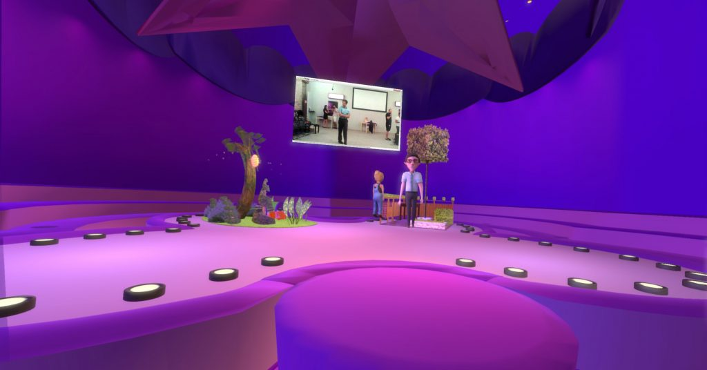 "Not only the ""real"" audience can glimpse into the virtual world – the VR audience, too, can view the real stage at times. © Double Eye Studios"