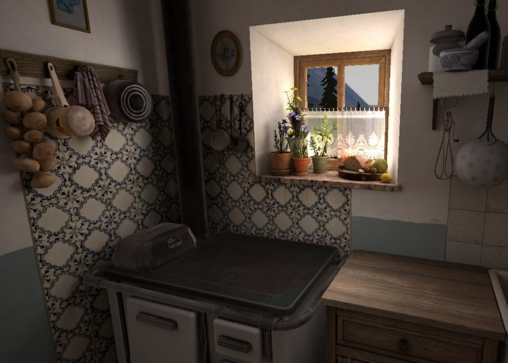 A shot of the kitchen where the story of Vajont VR takes place @Artheria
