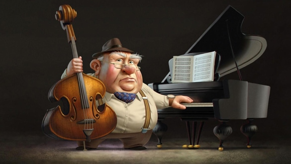 "Totos's grandfather with his instruments in the VR-Film ""Paper Birds"". © 3DAR"