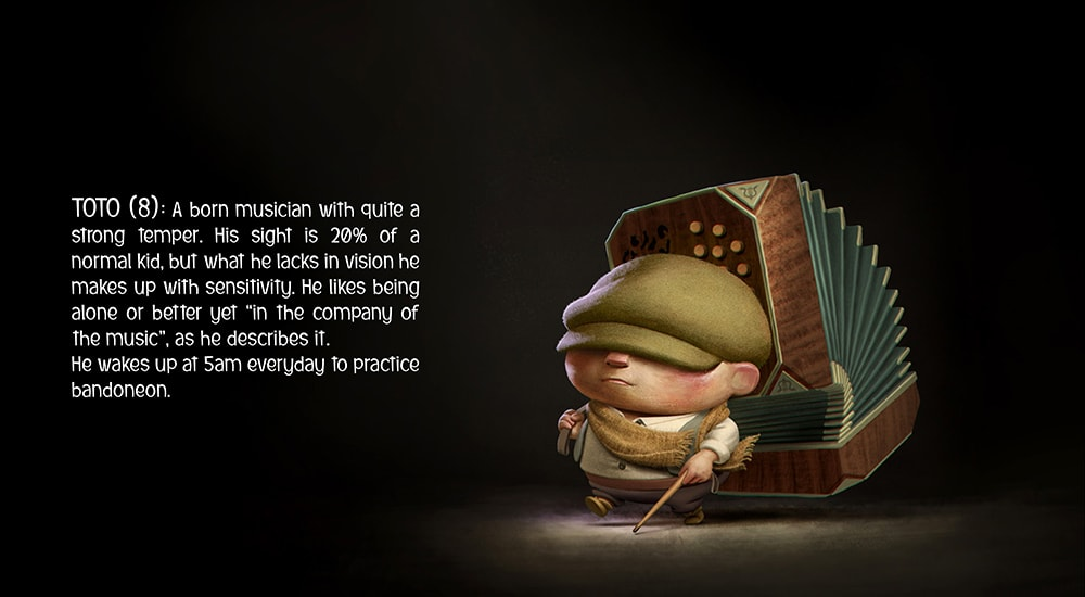 """Character description of the young hero Toto from """"Paper Birds"""". © 3DAR"""